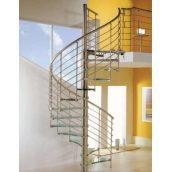 Лестница с поворотными ступенями с перилом из нержавейки