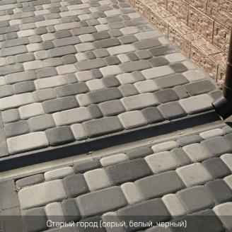 Тротуарная плитка Золотой Мандарин Старый город 120х80 мм серая