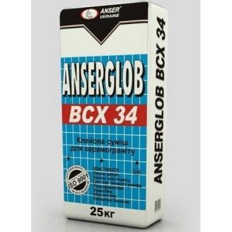 Клей для плитки Anserglob ВСХ 34 для керамогранита 25 кг