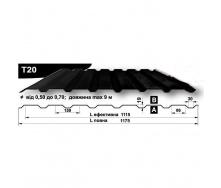 Профнастил стеновой Pruszynski T20 мат полиэстер 0,5*1175*9000 мм Польша (RAL9004/сигнально-черный)