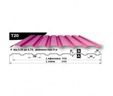 Профнастил стеновой Pruszynski T20 полиэстер 0,5*1175*9000 мм Польша (RAL3005/винный красный)