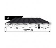 Профнастил стеновой Pruszynski T20 полиэстер 0,5*1175*9000 мм Польша (RAL7015/серый сланец)