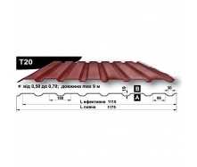 Профнастил стеновой Pruszynski T20 полиэстер 0,5*1175*9000 мм Польша (RAL8004/медно-коричневый)