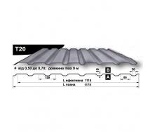 Профнастил стеновой Pruszynski T20 полиэстер 0,5*1175*9000 мм Польша (RAL7035/светло-серый)