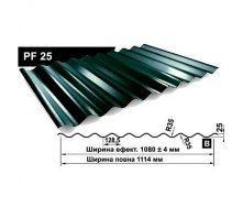 Профнастил стеновой Pruszynski PF 25 полиэстер 1114 мм Польша (RAL6005/зеленый мох)