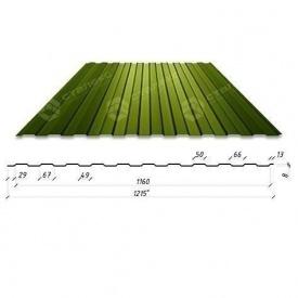 Профнастил Сталекс С-6 1215/1160 мм 0,4 мм PE Китай (RAL6020/хромово-зеленый)