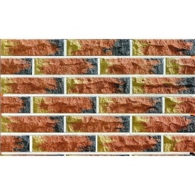 Облицовочный кирпич Фагот мраморный 60 радужный трехцветный 250х60х65 мм (желто-красно-серый)