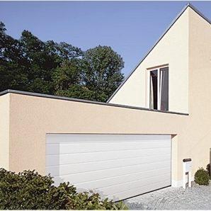 Ворота гаражні секційні двостінні Hormann LPU М-гофр sandgrain RAL 9016 білий