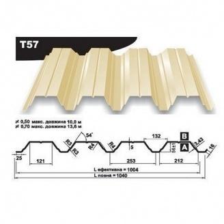 Профнастил несучий Pruszynski Т57 полиэстер 0,7*1040*13600 мм Польша (RAL1014/слоновая кость)