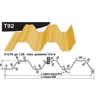 Профнастил несучий Pruszynski Т92 полиэстер 0,7*950*13600 мм Польша (RAL1003/сигнально-желтый )