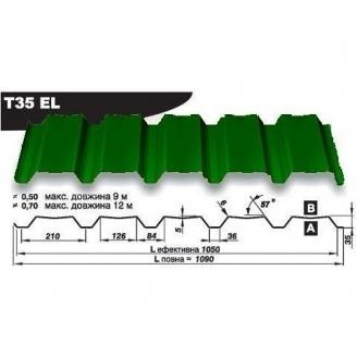 Профнастил стеновой Pruszynski Т35ЕL полиэстер 0,7*1090*12000 мм Польша (RAL6005/зеленый мох)