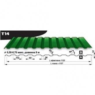 Профнастил кровельный Pruszynski Т14 полиэстер 0,5*1157*9000 мм Польша (RAL6002/зеленый лист)