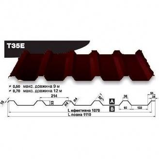 Профнастил стеновой Pruszynski Т35Е мат полиэстер 0,5*1110*9000 мм Польша (RAL8019/серо-коричневый)