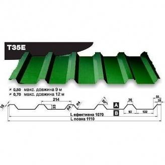 Профнастил стеновой Pruszynski Т35Е полиэстер 0,5*1110*9000 мм Польша (RAL6002/зеленый лист)