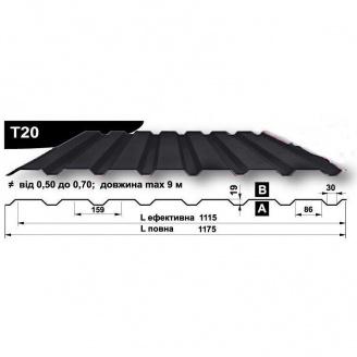 Профнастил стеновой Pruszynski T20 мат полиэстер 0,5*1175*9000 мм Польша (RAL7015/серый сланец)