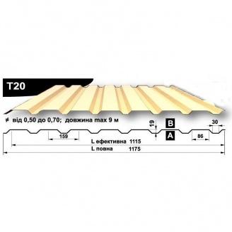 Профнастил стеновой Pruszynski T20 полиэстер 0,5*1175*9000 мм Польша (RAL1002/песочно-желтый)