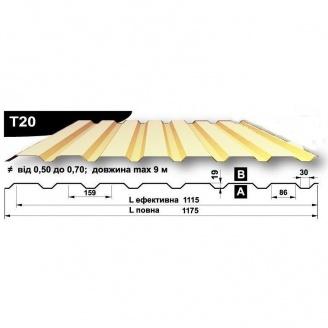 Профнастил стеновой Pruszynski T20 полиэстер 0,5*1175*9000 мм Польша (RAL1015/светлая слоновая кость)