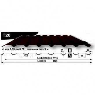 Профнастил стеновой Pruszynski T20 полиэстер 0,5*1175*9000 мм Польша (RAL8019/серо-коричневый)