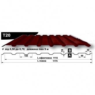 Профнастил стеновой Pruszynski T20 полиэстер 0,5*1175*9000 мм Польша (RAL3009/оксид красный)