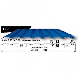 Профнастил стеновой Pruszynski T20 полиэстер 0,5*1175*9000 мм Польша (RAL5005/сигнально-синий)