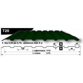 Профнастил стеновой Pruszynski T20 полиэстер 0,5*1175*9000 мм Польша (RAL6002/зеленый лист)