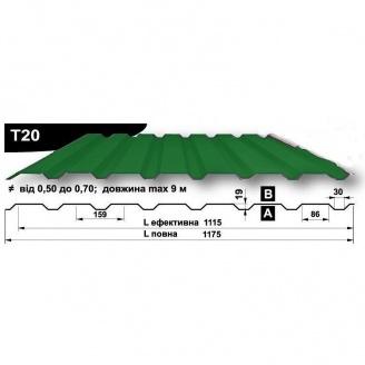 Профнастил стеновой Pruszynski T20 полиэстер 0,5*1175*9000 мм Польша (RAL6020/хромово-зеленый)