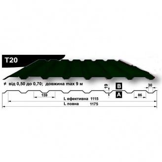 Профнастил стеновой Pruszynski T20 полиэстер 0,5*1175*9000 мм Польша (RAL6005/зеленый мох)