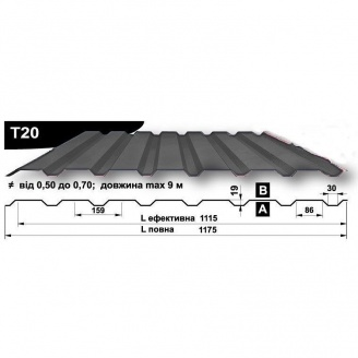Профнастил стеновой Pruszynski T20 полиэстер 0,5*1175*9000 мм Польша (RAL7000/серая белка)