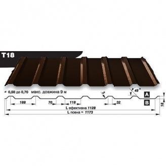 Профнастил стеновой Pruszynski T18 Purmat 0,5*1173*9000 мм Польша (RAL8017/шоколадный)