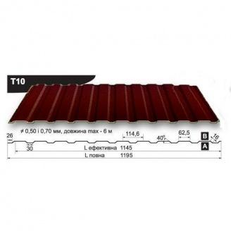 Профнастил стеновой Pruszynski T10 полиэстер 0,5*1195*6000 мм Польша (RAL8019/серо-коричневый)