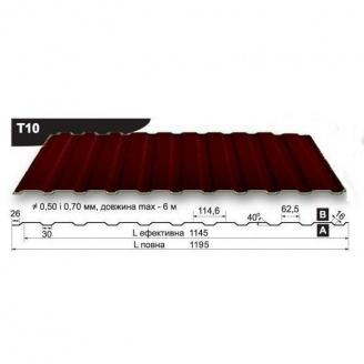 Профнастил стеновой Pruszynski T10 полиэстер 0,5*1195*6000 мм Польша (RAL3009/оксид красный)