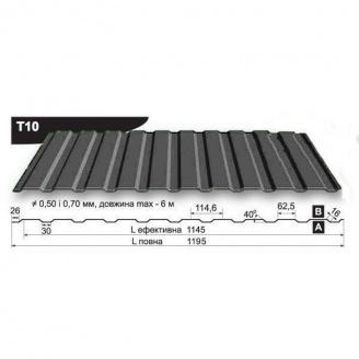 Профнастил стеновой Pruszynski T10 полиэстер 0,5*1195*6000 мм Польша (RAL7024/серый графит)
