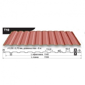 Профнастил стеновой Pruszynski T10 полиэстер 0,5*1195*6000 мм Польша (RAL8004/медно-коричневый)