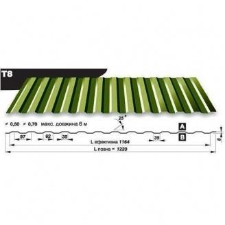 Профнастил стеновой Pruszynski T8 полиэстер 0,5*1220*6000 мм Польша (RAL6005/зеленый мох)