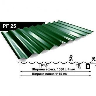 Профнастил стеновой Pruszynski PF 25 полиэстер 1114 мм Польша (RAL6002/зеленый лист)