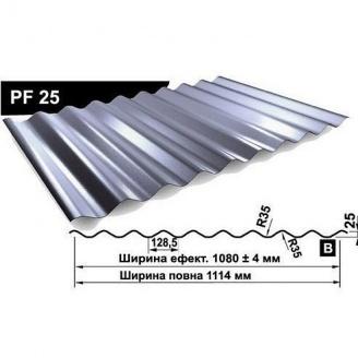Профнастил стеновой Pruszynski PF 25 полиэстер 1114 мм Польша (RAL7024/серый графит)