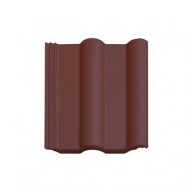 Цементно-песчаная черепица Vortex Двойная римская рядовая 330*420 мм коричнево-каштановая глянцевая