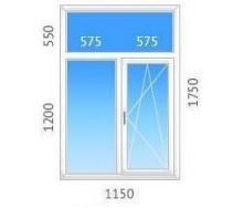 Окно Т-образное ALMplast с двухкамерным стеклопакетом 1150х1750 мм
