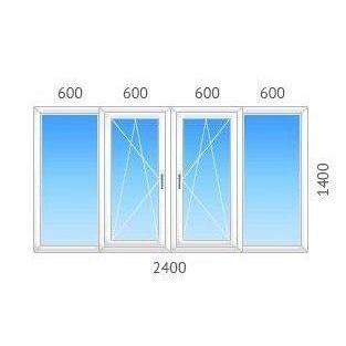 Окно 4-створчатое REHAU-60 однокамерный энергосберегающий стеклопакет