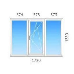 Окно трехстворчатое ALMplast с двухкамерным стеклопакетом 1720х1350 мм