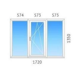 Окно трехстворчатое ALMplast с однокамерным стеклопакетом 1720х1350 мм