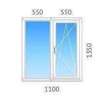 Окно двустворчатое REHAU-60 с однокамерным стеклопакетом 1100х1350 мм