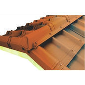 Конек модельный сборный финишный Onduvilla 1060x164 мм коричневый 3D