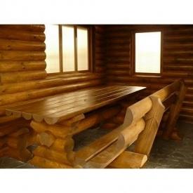 Деревянный стол с лавочкой для бани