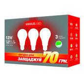 Комплект светодиодных ламп MAXUS 3-LED-335-01 A65 12W 3000K 220V E27 AP