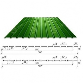 Профнастил Сталекс С-10 1180/1100 мм 0,50 мм PE Польша (Acelor Mittal) (RAL6005/зеленый мох)
