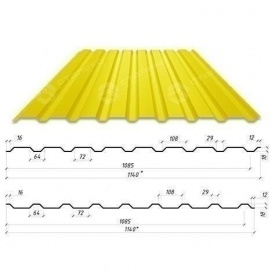 Профнастил Сталекс С-18 1140/1085 мм 0,50 мм PE Польша (Acelor Mittal) (RAL1003/сигнально-желтый )