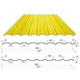 Профнастил Сталекс С-18 1140/1085 мм 0,50 мм PEMA Германия (Acelor Mittal) (RAL1003/сигнально-желтый )