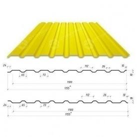Профнастил Сталекс С-20 1155/1100 мм 0,50 мм PEMA Германия (Acelor Mittal) (RAL1003/сигнально-желтый )