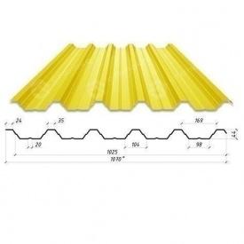 Профнастил Сталекс Н-44 1070/1025 мм 0,50 мм PE Польша (Acelor Mittal) (RAL1003/сигнально-желтый )
